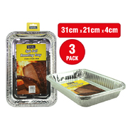 3pc Foil Roasting Tray 31cm x 21cm x 4cm