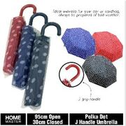 52cm Polka Dot Leather J Handle Umbrella