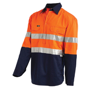 Hi Vis 2-Tone Medium Lightweight Half Closed Gusset Cuff Drill Shirt with 3M Reflective Tape - Long Sleeve Orange Navy
