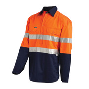 Hi Vis 2-Tone Small Lightweight Half Closed Gusset Cuff Drill Shirt with 3M Reflective Tape - Long Sleeve Orange Navy