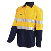Hi Vis 2-Tone Large Lightweight Half Closed Gusset Cuff Drill Shirt with 3M Reflective Tape - Long Sleeve Yellow Navy