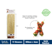 York St Kitchen 72pk Bamboo Skewers 4 x 300mm