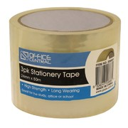 Office Central 3pk Stationery Tape 24mm x 50m
