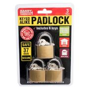 Handy Hardware 3pk Heavy Duty Keyed Alike Padlock 37mm