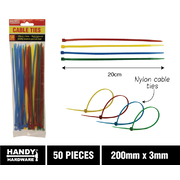 Handy Hardware 50pc Multi Coloured Cable Ties 200mm x 3mm