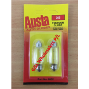 Austa Festoon 12v 10w DC (S8-5) 15 x 43mm 2 Per Card 10pk