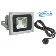 Crompton Lighting FL10S 10W LED Weather Proof Flood Light, Silver, Comes With 1.5m