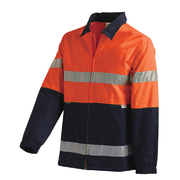 Hi Vis 2-Tone Large Cotton Drill Jacket with 3M Reflective Tape Orange Navy