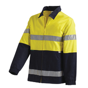 Hi Vis 2-Tone Large Cotton Drill Jacket with 3M Reflective Tape Yellow Navy