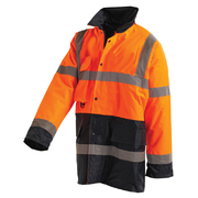 Hi Vis Jacket 3/4 Length Oxford Taped Orange Navy XL