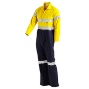 Hi Vis 2-Tone 102R Overall Lightweight with Nylon Press Studs & 3M Reflective Tape Yellow Navy