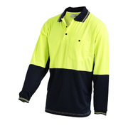 Hi Vis 2-Tone XL Lightweight Long Sleeve Polo Shirt Yellow Navy