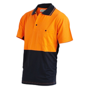 Hi Vis 2-Tone XL Lightweight Short Sleeve Polo Shirt Poly Cotton Orange Navy