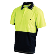 Hi Vis 2-Tone XL Lightweight Short Sleeve Polo Shirt Poly Cotton Yellow Navy