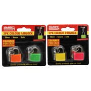 Handy Hardware 2pc Colour Padlock 20mm