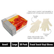 50pk Ansell Fresh Touch Large Vinyl Gloves Powder Free