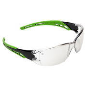Pro Choice Safety Glasses Cirrus-Clear Polycarbonate Frame with soft green overmoulded arms Clear Lens, Anti-Fog