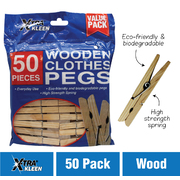 Xtra Kleen 50pc Wooden Clothes Pegs