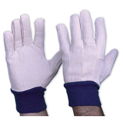 Pro Choice Cotton Drill Gloves With Blue Knitted Wrist Mens