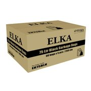 Elka 75L Black Garbage Bags Heavy Duty Carton of 250