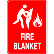 Fire Blanket Sign Self Adhesive Sticker 150 x 100mm