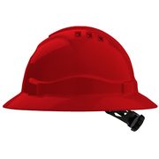 Hard Hat Vented 6 Point Full Brim Red