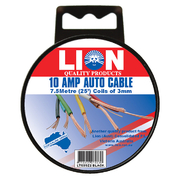 Lion Auto Cable 10amp x 3mm Black 7.5m