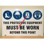 Custom Made Multi Mandatory Sign Beyond This Point 900 x 600mm Fluted Polypropelene. Boots, Hard Hat, Vest, Spec With Hearing