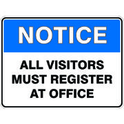 Notice Visitors Register At Office Sign 450 x 300mm Powdercoated Metal