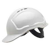 Tuffgard White Vented Hard Hat 6 Point Web Harness Pin Lock