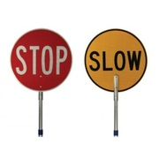 Stop/Slow Sign Class 1 Reflective Traffic Control Sign, Adjustable Aluminium Handle, Meets Australian Standards