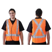 Orange Day Night Safety Vest X Back Pattern Medium