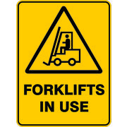 Warning Forklift In Use Sign 600 x 450mm Powdercoated Metal